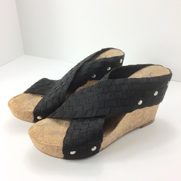 96273841a0f85f Lucky Brand Shoes - Lucky Brand Miller 2 Black Cork Wedge Sandals 7M